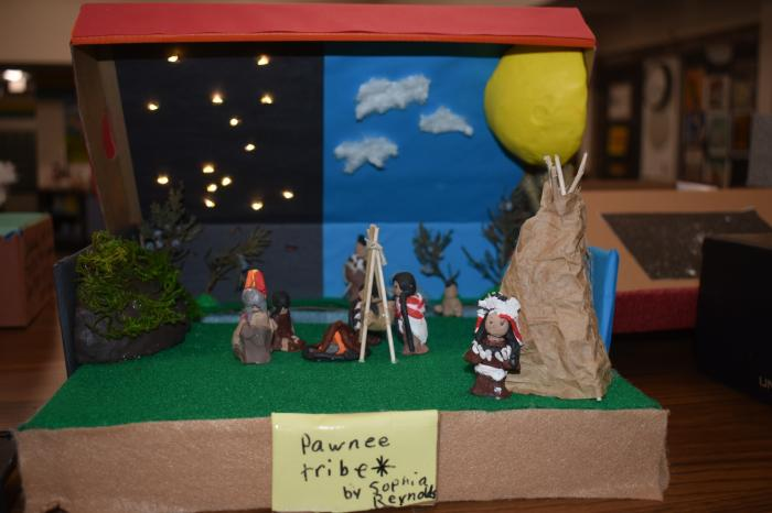 4th Graders with the dioramas of Nebraska Native American Tribes image