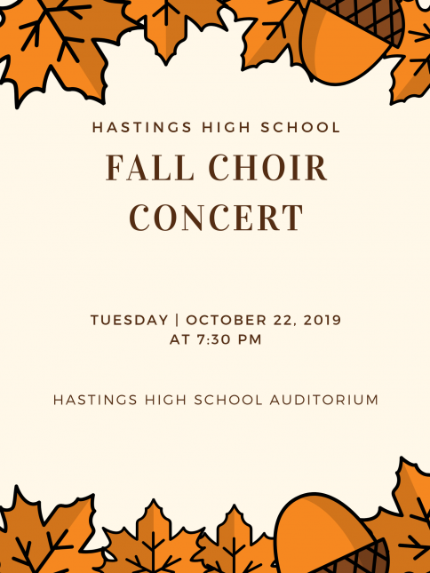 HHS Fall Choir Concert, Tuesday, October 22