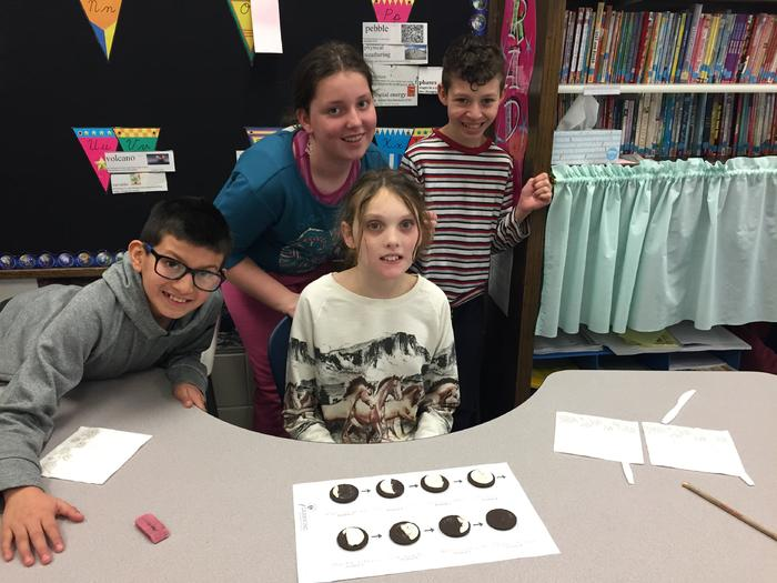 5th graders using Oreos for Phases of the Moon image