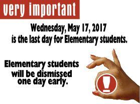 Date Change Last Day of School May 17 image
