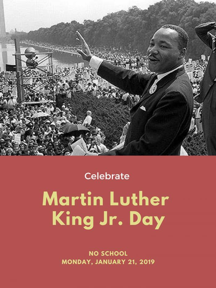No School Monday, January 21, Martin Luther King Jr. Day image