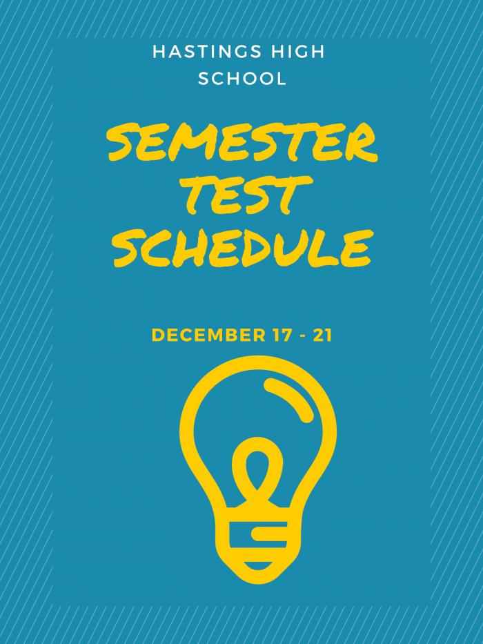 Semester Test Schedule image