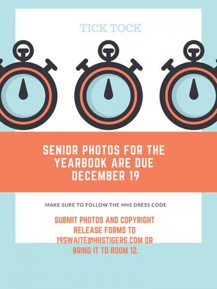 Senior Photos For the Yearbook Are Due December 19! image