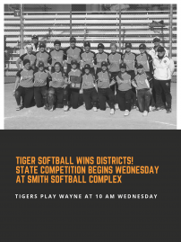 Tiger Softball Off To State Tourney! image